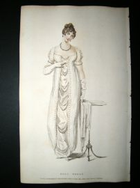 Ackermann 1809 Hand Col Regency Fashion Print. A Ball Dress